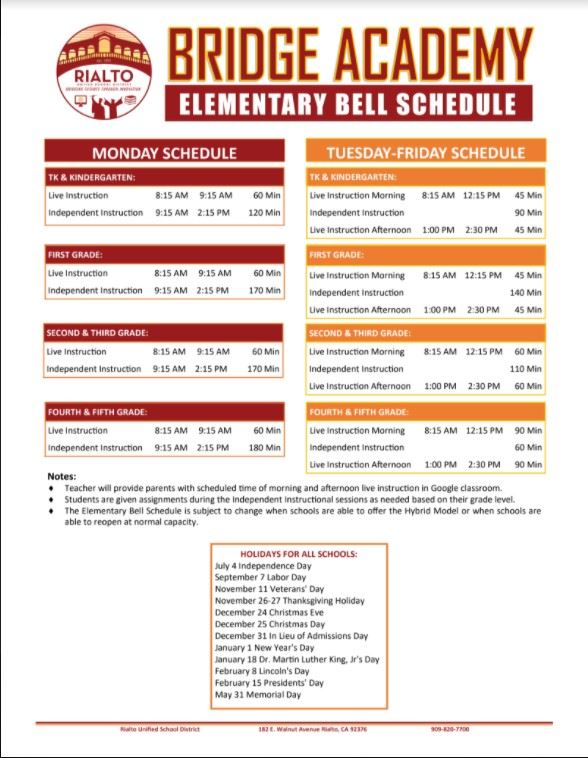 Bridge Academy Schedule/Horario de Bridge Academy