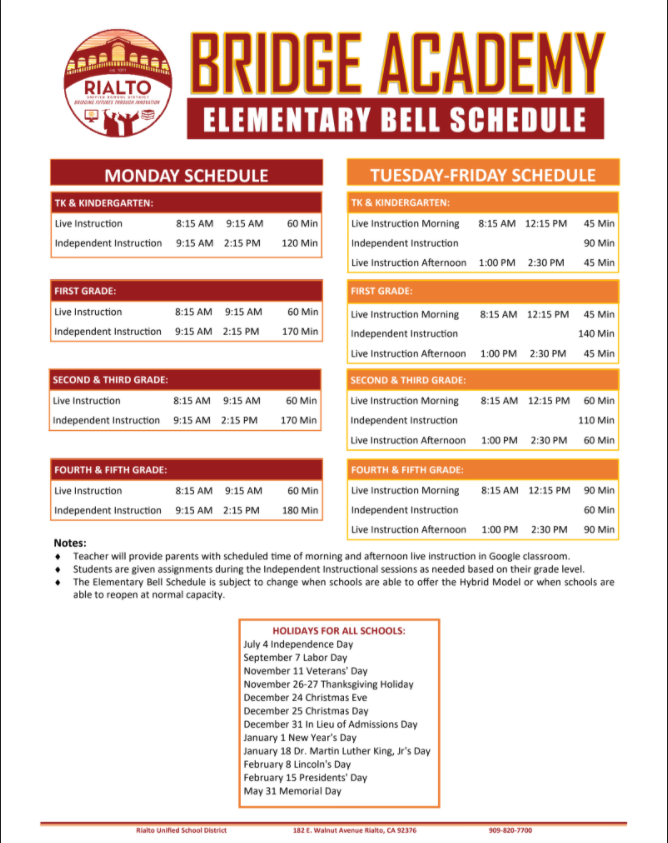 Bridge Academy Schedule