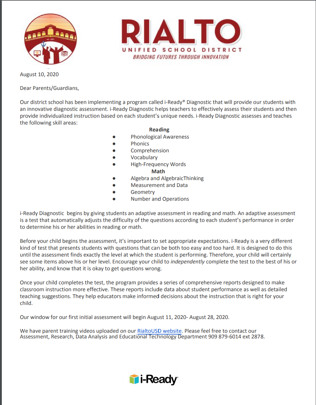 Iready Parent letter English
